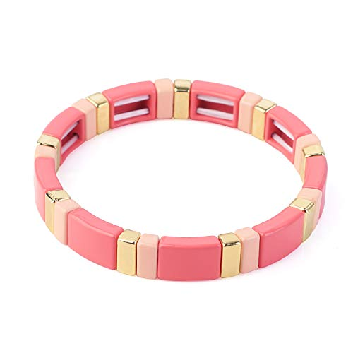 KANYEE Pink Bar Stretch Manschette Armreif Fliesen Perlen Elastic Bracelet Romantischer Schmuck Freundschaft für Frauen Mädchen