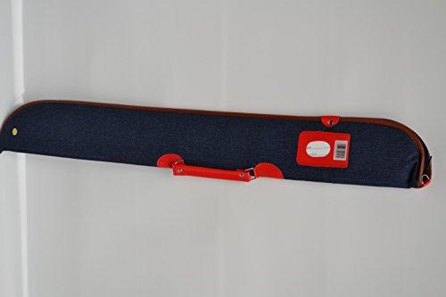 Billard Queue Tasche Köcher Jeans rot/braun für 1 Unterteil / 1 Oberteil