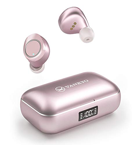 Wireless Earbuds, VANKYO X200 Bluetooth 5.0 Earbuds, in-Ear Stereo Headphones with Metal LED Display Charging Case, IPX8 Waterproof, 120H Playtime, Built-in Mic with Deep Bass for Sports Work, Pink