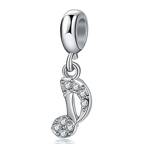 Pandora 925 joyería de plata esterlina colgantes novo bonito strass nota musical pingente contas adequado para charme pulseira senhoras jóias fazendo presentes