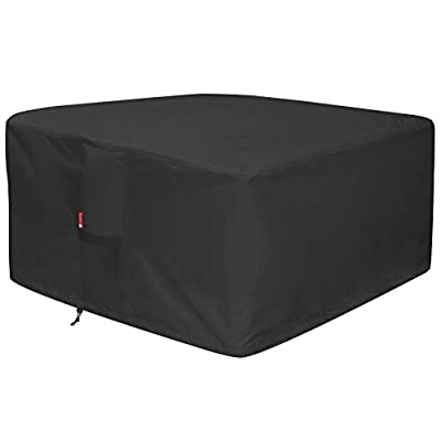 """SheeChung Large 50"""" Square Fire Pit Cover - Waterproof 600D Heavy Duty Square Patio Fire Pit Table Cover Black (Square - 50"""" L x 50"""" W x 24"""" H)"""