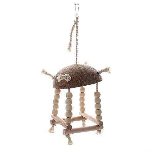 Xploit Coconut Shell Papagayo Columpio Juguete de Madera Lino Cuerda pájaro Perca para Colgar en el jardín balcón Ventana para pájaros Loro Canary Finch Dove Cage