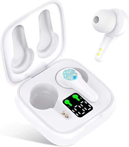 QCHEA Inalámbrica Bluetooth Auriculares in-Ear, IPX5 Duración 25h a Prueba de Agua con Control táctil micrófono Incorporado, Blanca