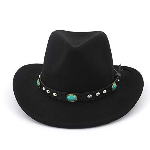 Xuguiping Fedora zonnehoed mannen vrouwen vilten hoed band Western Cowboy hoed zwart 6 kleuren Trilby Bowler hoed for Unisex 56-58 zwart