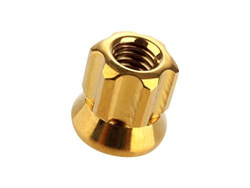 ロング貫通ナット M6 P=1.0 ゴールド SUS304 ステンレス フランジ付 六角ナット 切削カスタムヘッド TF0058