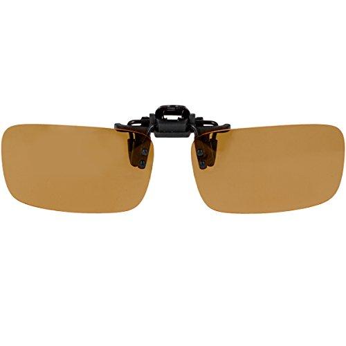 Überbrille Sonnenbrille für Brillenträger Überzieh-Sonnenbrille mit Brillen-Etui für Herren und Damen Sonnenbrillen-Clip zum Überziehen (Braune Gläser)