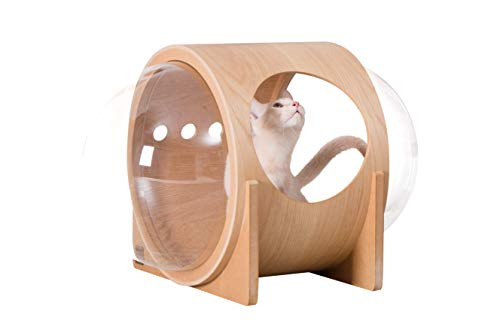 MYZOO Spaceship Alpha, Warm And Cozy Pet Bed for Cat & Dog, Designed Furniture, Made of Wood … (Oak)