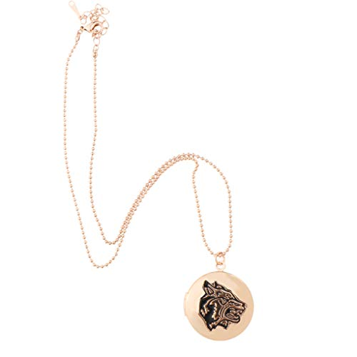 Baoblazen Forma Redonda con El de Cabeza de Loba Colgante Medallón Collar Joyería Conmemorativa - Oro Rosa, 3.2cm