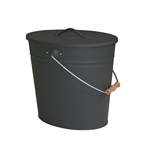 ReWu Stahleimer Ascheeimer Mehrzweckeimer oval mit Deckel für heiße Glut und Asche - Größe 15 l - Kohleeimer Kamineimer in matt schwarz