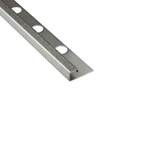 10x Quadrat-Profil Edelstahlschiene Fliesenprofil Fliesenschiene Edelstahl V2A L250cm 10mm gebürstet