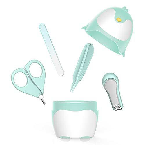 ARRNEW Kit de uñas para bebé con diseño de pingüino, cortaúñas 4 en 1, tijeras, lima de uñas y pinzas para recién nacidos, bebés y niños pequeños (verde)