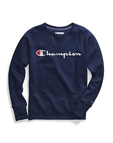 Champion Women's Powerblend Boyfriend Crew Sweatshirt, Athletic Navy - Graphic, Large
