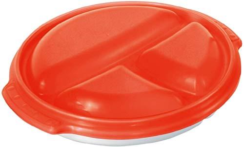 Rotho Micro Clever Teller mit 3 Unterteilungen und Deckel geeignet für die Mikrowelle, Kunststoff (PP) BPA-frei, weiss/rot, 0,75l (25,5 x 23,5 x 5,0 cm)