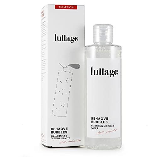 LULLAGE Agua Micelar Desmaquillante y Limpiadora Facial Piel Mixta - Grasa, 200 ml | Tratamiento VEGANO y Natural | Solución Micelar Purificante, Combate la Polución en la Piel, Re-move Bubbles