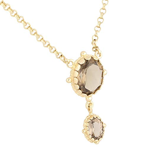 Jollys Jewellers Women's 9Carat Yellow Gold 18.5' Smoky Quartz Belcher Necklace (2mm & 14x30mm) | One of A Kind Ladies Necklace