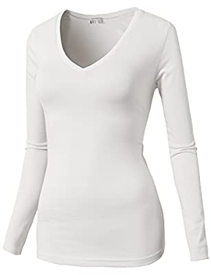 H2H Womens Active Basic Soft Long Sleeve Scoop Neck Cotton T-Shirt White US L/Asia L (CWTTL0172)