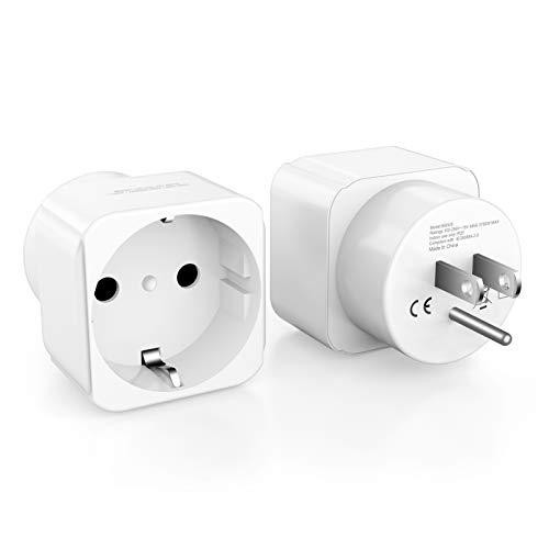 European to USA Plug Adapter, ANKCE Europe to USA Travel Plug Converter, American Outlet Plug Adapter (European to USA Plug Adapter)