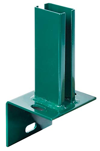 GAH-Alberts 685591 Pfostenträger für Zaunpfosten auf L-Randsteinen | zum Aufschrauben | feuerverzinkt, grün kunststoffbeschichtet RAL 6005 | Platte 84 x 100mm | für Pfosten 60 x 40 mm