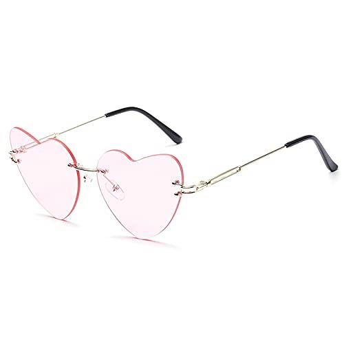 Heigmznvtyj Gafas de Sol Mujer Polarizadas, Gafas de Sol en Forma de corazón Mujeres sin Montura Femeninas Hermosas y Lindas (Lenses Color : Pink)