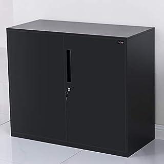 MECOLOR Armario de oficina de metal de media altura con puertas y estantes ajustables en color blanco metal negro 760 mm