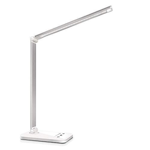 Lampada da Scrivania LED Protezione Degli Occhi, lampada Touch Control Pieghevole per cameretta,ufficio, con porta di ricarica USB, 10 livelli di luminosità 5 modalità di illuminazione