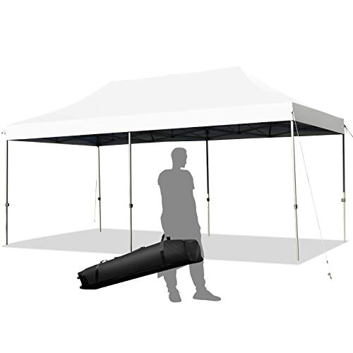 Tangkula 10' x 20' Pop Up Canopy Tent, Easy Set-up Outdoor Tent Commercial Instant Shelter, Portable Folding Canopy Tent w/ Wheeled Carry Bag, 3 Adjustable Heights, Guy Ropes & Ground Stakes (White)