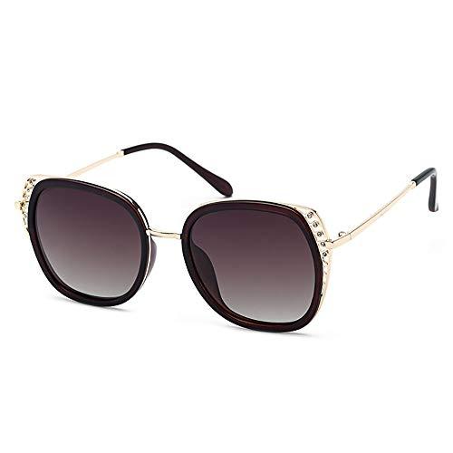 NgMik Gafas De Sol Polarizadas Gafas de Sol polarizadas for Mujer Ojos de Diamante Gafas de Sol polarizadas for Mujer Clásico (Color : Brown, Size : Free Size)