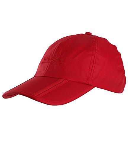 Sumolux Men Women Outdoor Rain Sun Waterproof Quick-Drying Long Brim Collapsible Portable Hat Red
