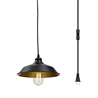 Industrial Plug in Pendant Lighting Vintage Hanging Light with 14.27ft Hanging Cord On/Off Switch,Metal Hanging Lamp for Kitchen Island,Dining Room,Barn,Farmhouse