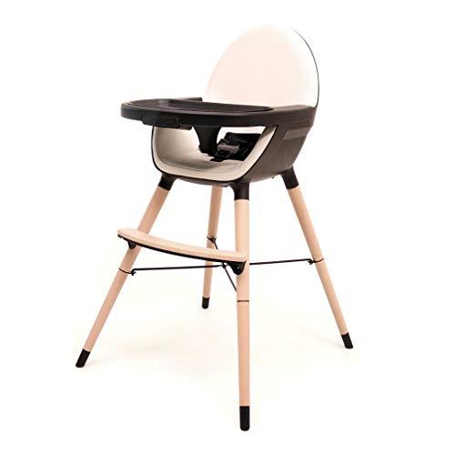 Chaise haute bébé évolutive - pieds en bois - plateau amovible - design (Essentiel noir/sable)