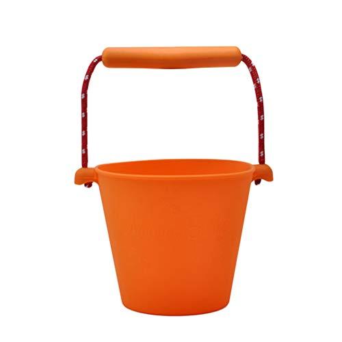 STOBOK Cubo plegable de silicona, cubo de arena para bebé, cubo de agua para niños, cubo para juguetes en la playa, caja de arena para el coche al aire libre, camping (naranja)