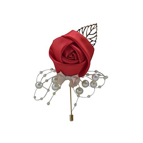 floatofly Flores artificiales multicolor flores artificiales multicapa, flor falsa perla artificial Boutonniere ceremonia de boda novia novio corsage broche rojo
