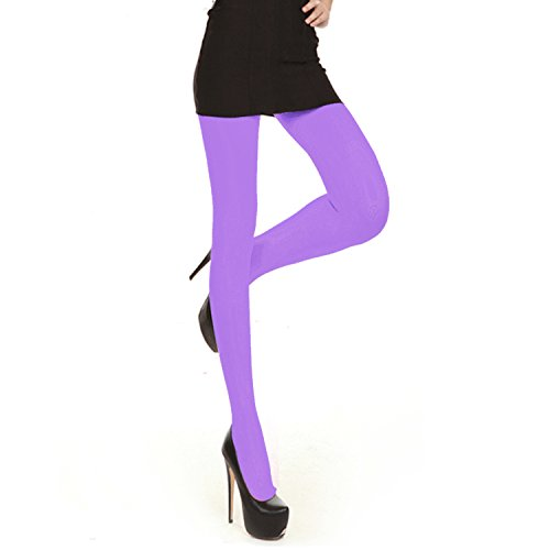 Libella Damen bunte Neon Strümpfe in Klassischen und Trendfarben Bonbon Farben Microfaser Strumpfhose Lila 03 L
