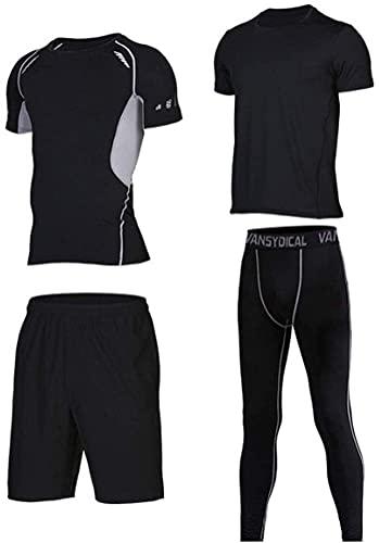 Ropa deportiva de moda Hombre 4 Pack deportes Fitness Ropa Conjunto de manga larga Accesorios sueltos Pantalones cortos Pantalones de compresión Adecuados para entrenamiento de ejercicios Running Spor