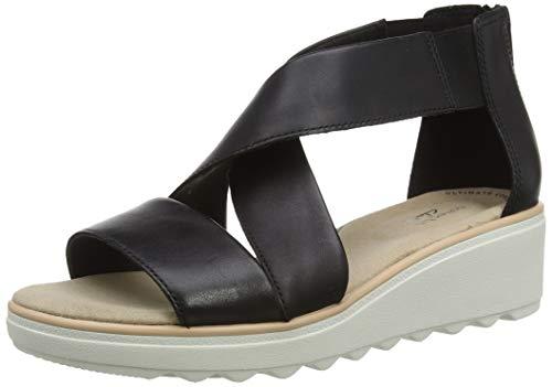 Clarks Damen Jillian Rise Riemchensandalen, Schwarz (Black Leather Black Leather), 38 EU