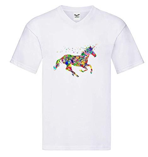 Camiseta V – Multicolor Prismático cromático Arco Iris – Camiseta para Hombre y Hombre con Cuello en V Blanco XL