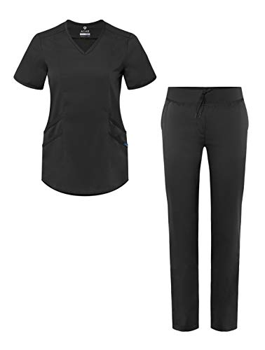 Adar Pro Core Classic Scrub Set for Women - Tailored V-Neck Scrub Top & Tailored Yoga Scrub Pants -...