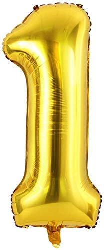 Soulstice © XXL Zahlenballon in Gold, Folienballons als Geschenk und Überraschung für Geburtstage, Jubiläum, Hochzeit und Party Deko, Partydeko, Zahl Eins 1