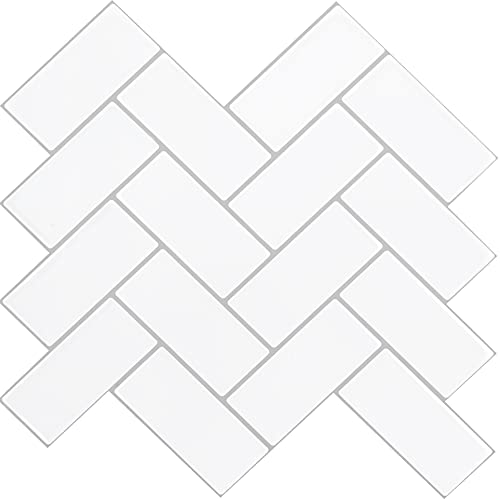 """STICKGOO Thicker Design Peel and Stick Backsplash Tile, 12""""×12"""" Herringbone Stick on Wall Tiles, Self Adhesive Tile Sticker for Kitchen Backsplash and Bathroom (10 Sheets, White with Light Grey Grout)"""