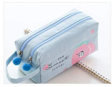 Estuche escolar coreano para niñas y niños, estuche de lápices Kawaii Fruit Pen Box grande bolsa de cartucho penal grande (color azul cielo)