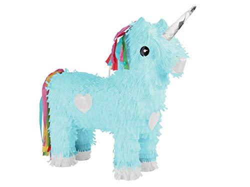 Alsino Pinata Geburtstagsdeko Einhorn Schlag-Pinata - Farbe: blau, Maße: 47 cm x 39 cm, leicht zu...