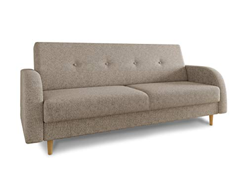 Schlafsofa Kelso - Sofa mit Bettkasten und Schlaffunktion, Bettsofa, Schlafcouch mit Holzfüße, Couch vom Hersteller, Couchgarnitur (Beige (Twist 02))