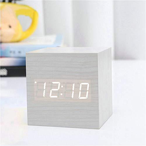 SWECOMZE LED Digital Wecker, Holz Würfel Uhr, Holzuhr Tischuhr, Wecker aus Holz, Sprachaktiviert Würfel-Digitaluhr für Schlafzimmer (Weiß)
