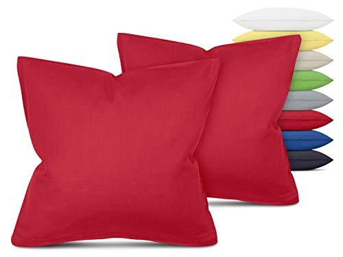 Unifarbene Kissenbezüge im Doppelpack - in 8 Farben und 3 Größen - Moderne Wohndekoration in dezentem Design, ca. 40 x 40 cm, rot