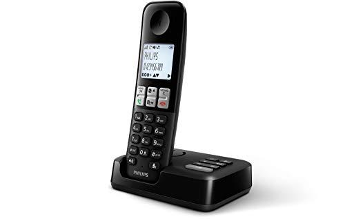Philips D2551B / 01- Téléphone DECT sans Fil avec 1 combiné avec répondeur, 50 Noms/numéros et Identification de l'appelant - Noir