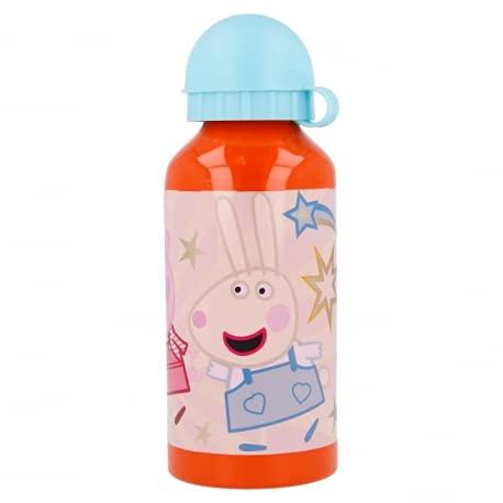 Borraccia Bottiglia in Alluminio per Bambini 400ml con beccuccio retraibile (Peppa Pig Kindness)