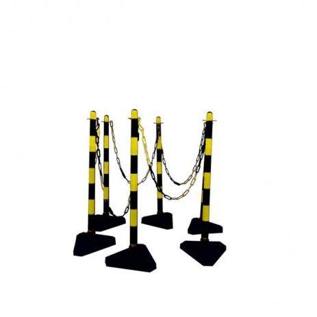 Kettingstandaard set van kunststof I 6 geel-zwarte kettingpalen met vulbare bodemplaat, ogen & 10 meter ketting