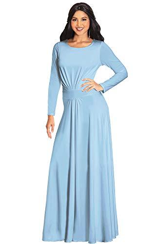 KOH KOH - Vestido de fiesta de otoo e invierno con mangas y cintura - Azul - Large