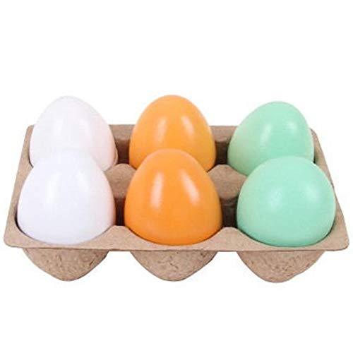 Huevos magnéticos de Madera para decoración de Pascua, 6 Huevos de simulación para niños, Juego de Cocina, Juguete de Comida para niños, Desarrollo temprano, Aprendizaje, Regalos de cumpleaños