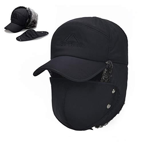 Winter Trapper Hats for Men Warm Trooper Hunting Hat with Ear Flaps Windproof Mask Ushanka Hat for Women(Blue)
